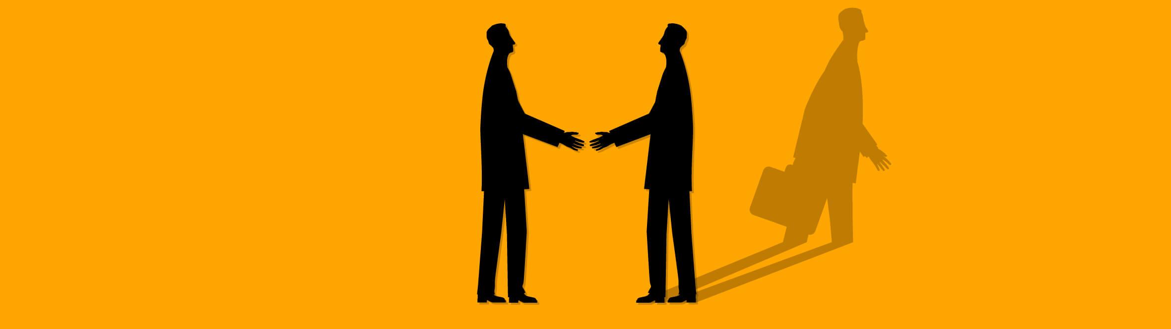 Silueta dos hombres dándose la mano. QTI trabaja con nosotros